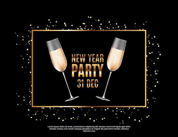 Happy new year party 31. dezember poster vektor illustration eps10