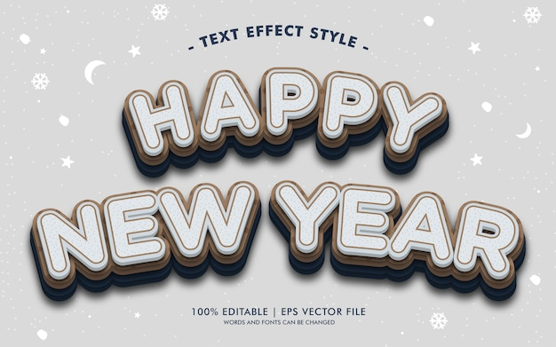 Happy new year text effects style