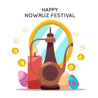 Happy nowruz event flaches design