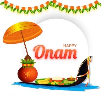 Happy onam banner oder poster design.