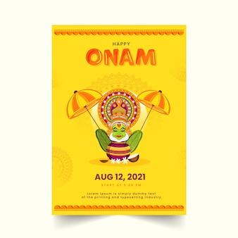 Happy onam poster oder template-design mit kathakali-tänzer-gesicht und festival-elementen in gelber farbe.