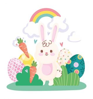 Happy ostern niedlichen hasen karotten eier regenbogen gras dekoration