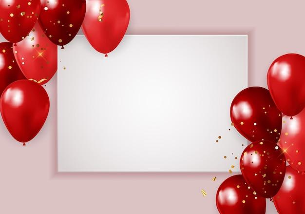 Happy party geburtstag banner mit realistischen roten luftballons und rahmen.