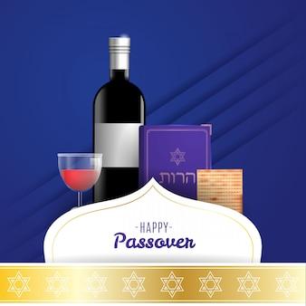 Happy passover holiday grußkarte mit pessach-symbolen