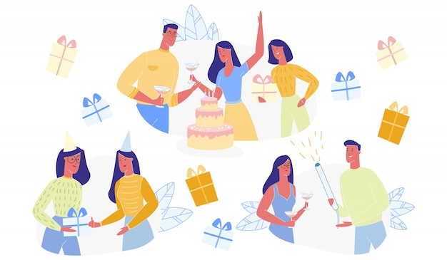 Happy people charaktere feiern geburtstagsset