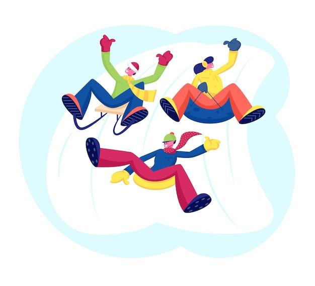 Happy people friends company durchführung von freizeitaktivitäten im freien bergab fahren. karikatur flache illustration