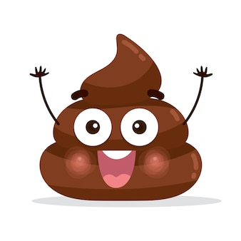 Happy poo / poop charakter emoticon
