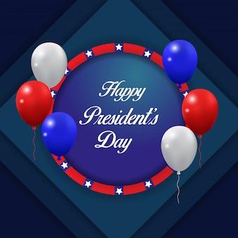 Happy presidents day hintergrund mit fliegenden ballons vektor.