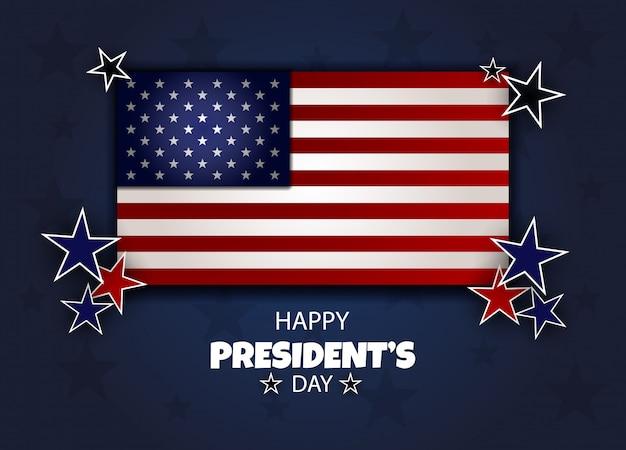 Happy presidents day hintergrundvorlage. abzeichen mit blauem band oben auf amerikanischer flagge.