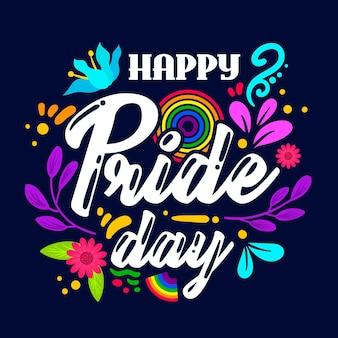 Happy pride day schriftzug und blumen