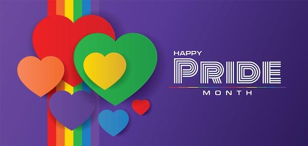 Happy pride monat banner design lgbtq feiert vektorillustration