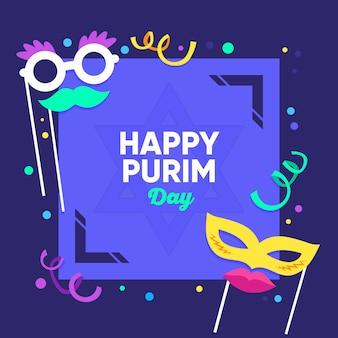 Happy purim day event mit flachem design