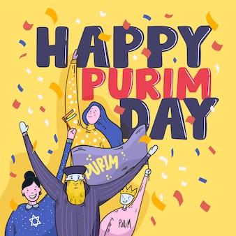 Happy purim event mit flachem design