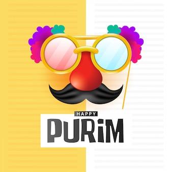 Happy purim mit karnevalsmaske aus pappe