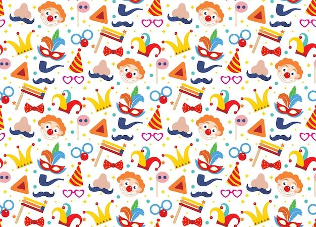 Happy purim nahtloses muster mit clowns. zirkus, karneval endlose textur, hintergrund.