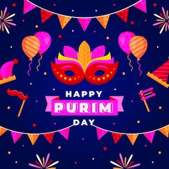 Happy purim tagesmaske und feuerwerk