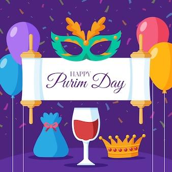 Happy purim tagesmaske und luftballons