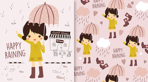 Happy raining girl illustration