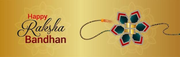 Happy raksha bandhan indian festival sale banner mit kreativem rakhi
