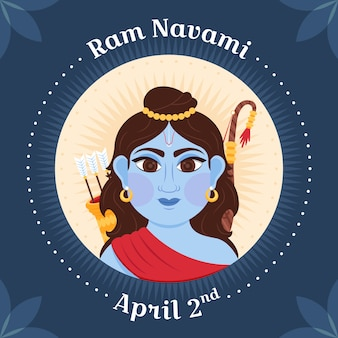 Happy ram navami day event design mit flachem design