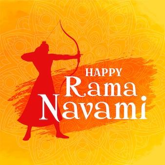 Happy ram navami mit bogenschützen-silhouette