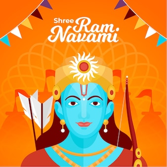 Happy ram navami mit flachem design