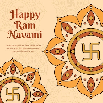 Happy ram navami tagesthema des flachen entwurfs