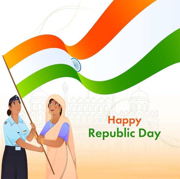 Happy republic day celebration concept mit indischen frauen, die indien-flagge halten.