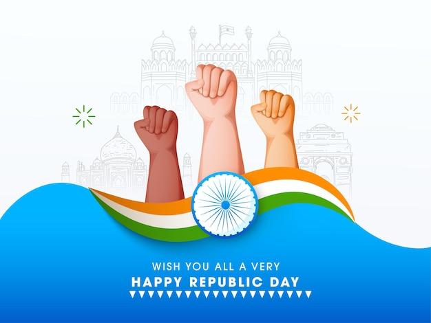 Happy republic day poster design mit fausthänden nach oben