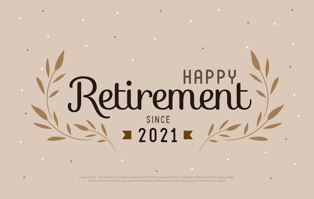 Happy retirement party 2021 elegantes logo-design und blattverzierter vintage-stil