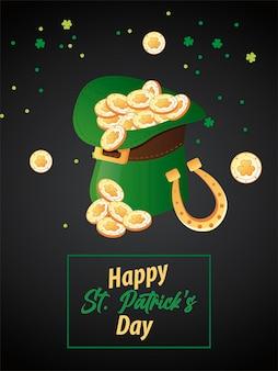 Happy saint patricks day schriftzug mit münzen in elf tophat und hufeisen illustration