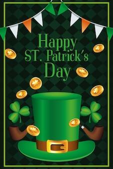 Happy saint patricks day schriftzug mit tophat und münzen illustration