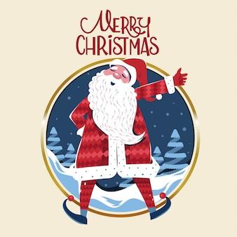 Happy santa claus sagt frohe weihnachten