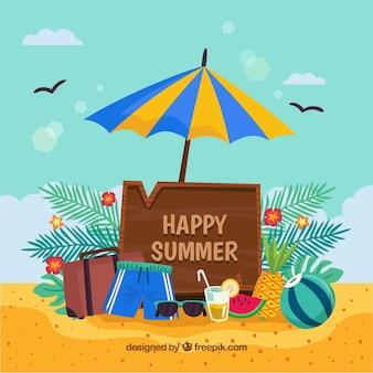 Happy sommer hintergrund mit strand objekte