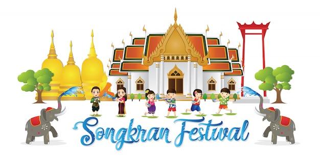 Happy songkran festival ist das traditionelle thailändische neujahr, das im april gefeiert wird