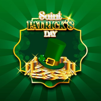 Happy st. patrick's day konzept mit stapel gold