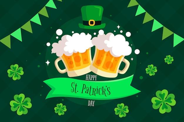 Happy st. patrick's day mit bierkrügen und klee