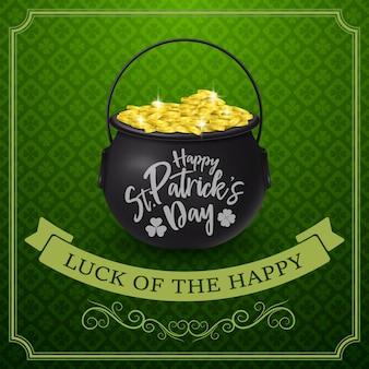 Happy st. patrick's day mit goldenen münzen