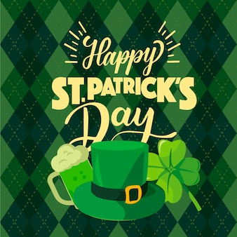 Happy st. patrick's day mit hut und klee