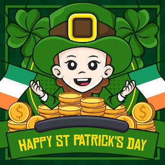 Happy st patrick's day social media poster vorlage mit kobold illustration cartoon figur