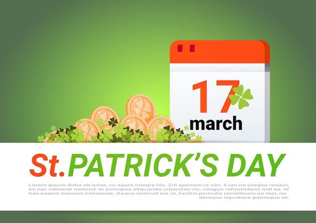 Happy st. patricks day dekoration vorlage grüner hintergrund goldene münzen und kalenderseite