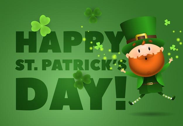 Happy st. patricks day-schriftzug mit kobold springen