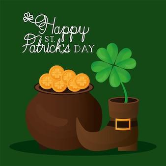 Happy st. patricks day schriftzug, stiefel mit einem klee und topf voller goldmünzen illustration