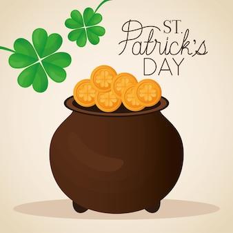 Happy st. patricks day schriftzug, zwei klee und topf voller goldmünzen illustration