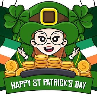 Happy st patricks day social media poster mit kobold mädchen