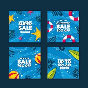 Happy summer sale instagram post set