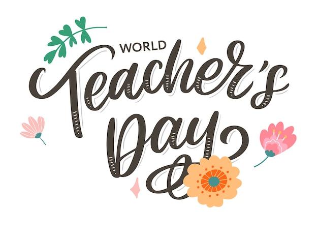 Happy teacher's day inschrift. gruß hand gezeichnete beschriftung.