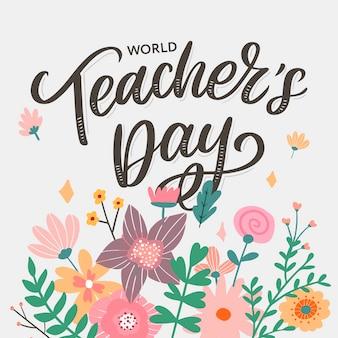 Happy teacher's day inschrift. grußkarte mit kalligraphie. hand gezeichnete beschriftung. typografie für einladung, banner, poster oder kleidung. zitat.
