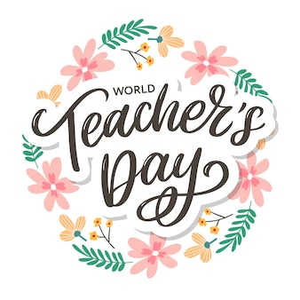 Happy teacher's day inschrift. hand gezeichnete beschriftung.