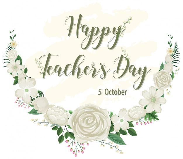 Happy teacher's day-logo mit blumenthema